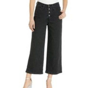 Levi's Mile High Cropped Wide Leg Button Fly Jeans Washed Black Size 12 NEW
